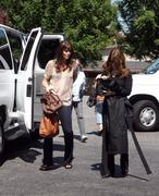 Sarah Lancaster arriving to the Chuck set in L.A. 9/16/10
